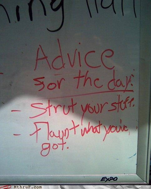 advice flaunt strut white board