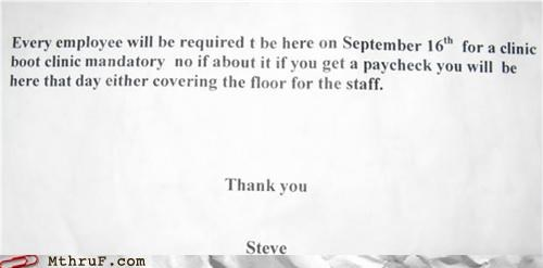 clinic mandatory note passive aggressive steve - 4472819712