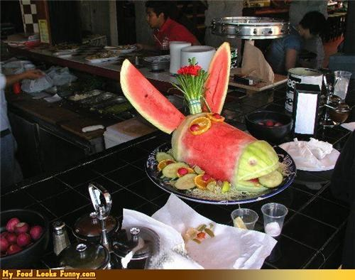 ass,donkey,donkey head,fruit,fruits-veggies,sculpture,watermelon,watermelon sculpture