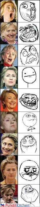 expressions faces Hillary Clinton internet Memes - 4473250816