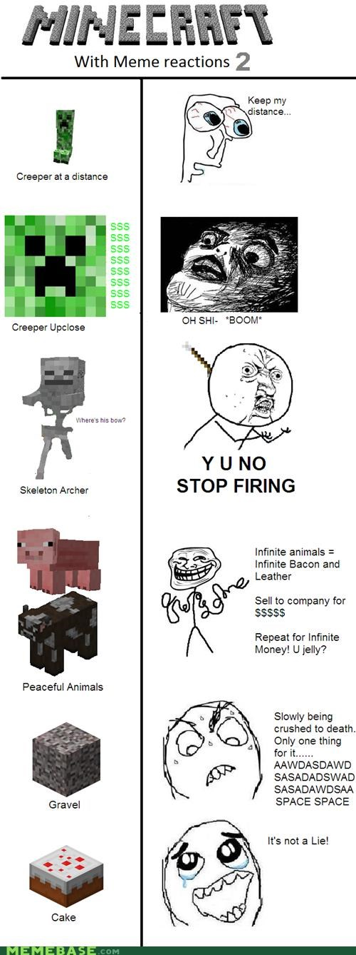 cake is not a lie creeper Memes minecraft skeleton archer video games - 4474178816