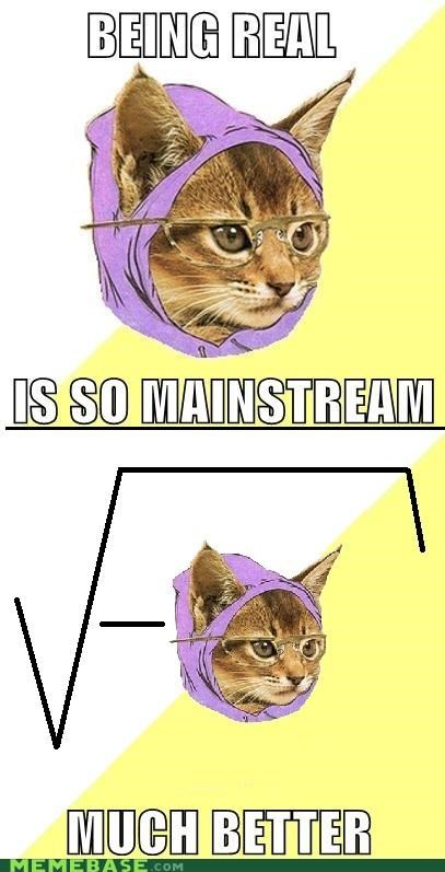 animemes bi could become complex at any moment Hipster Kitty imaginary numbers math nerdalert