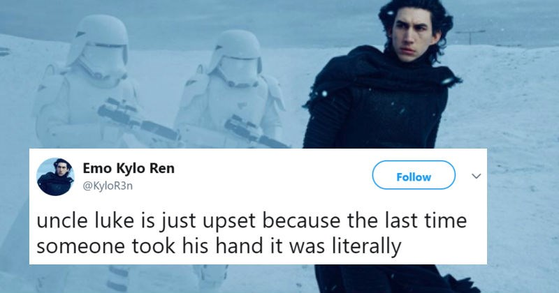 Emo Kylo Ren returns to Twitter with a fiery vengeance.