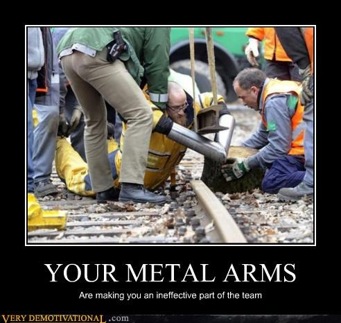 ineffective,metal arms,railroad,wtf