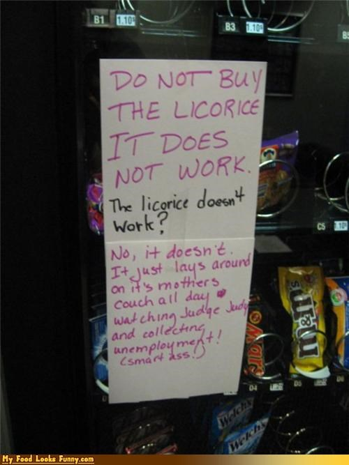 doesnt-work licorice signs snacks vending machine work
