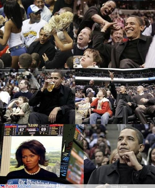 barack obama,basketball,disappointment,fun,Michelle Obama,multipanel,sports,wife