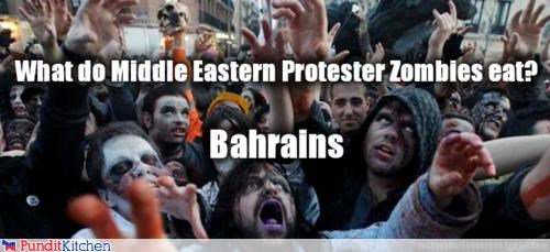 brains,middle east,protesters,puns,zombie