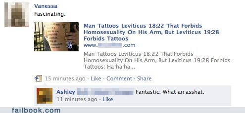 bible facepalm homosexuals religion stupid tattoos - 4476403712