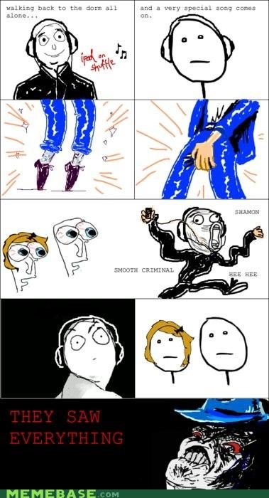 caught in the act,dance,ipod,michael jackson,Rage Comics,raisins-super-fuuuu