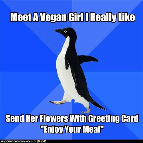 enjoy your meal,flowers,girl,socially awkward penguin,vegan