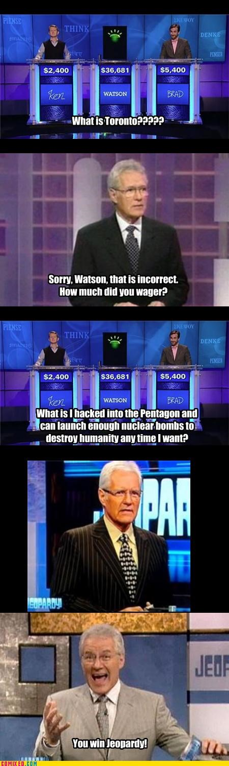 Alex Tribek computers Jeopardy skynet wargames Watson