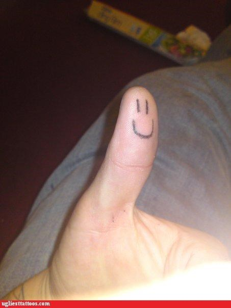 smiley tattoos thumbs up funny - 4479320832