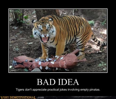 tiger joke pinata scary