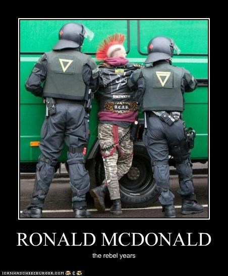 arrest,McDonald's,police,punks,riots,Ronald McDonald