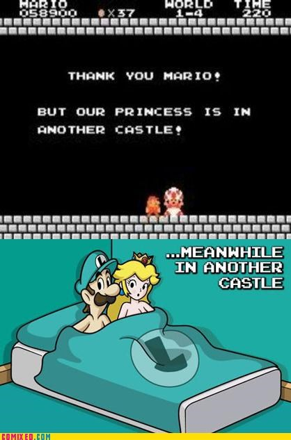 adultery luigi mario princess sad but true video games - 4480908288