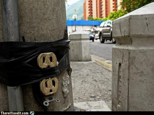 electricity holding it up outlet power tape wtf - 4481154304