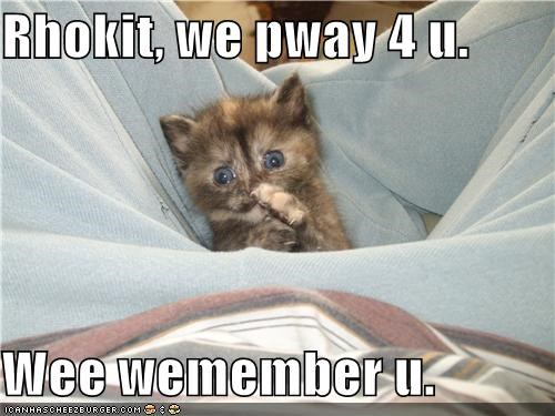 Rhokit, we pway 4 u.  Wee wemember u.