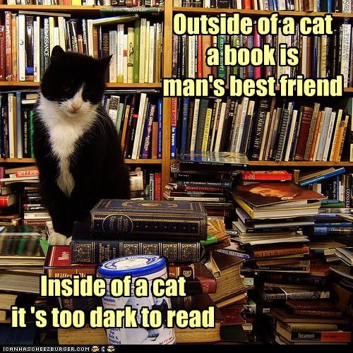 adage best book bookstore caption captioned cat dark friend inside literalism mans outside read reading too - 4482234368