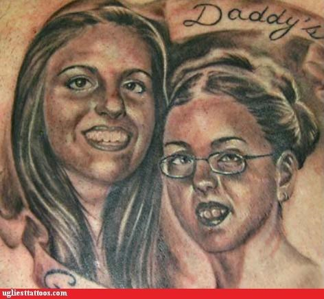 bad daughters portraits tattoos funny derp - 4482483456