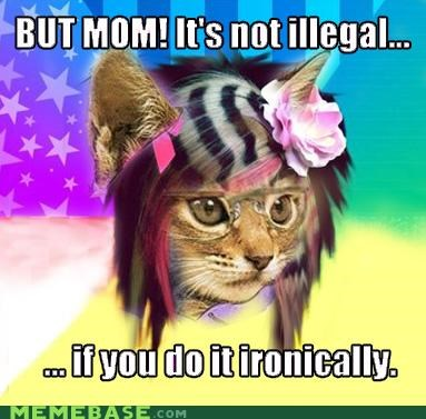 Hipster Kitty,illegal,ironically,meme mixup,scene wolf