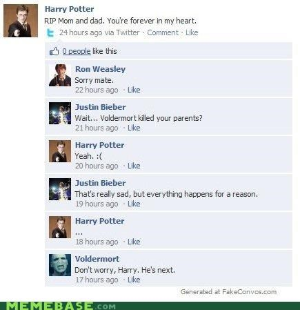 facebook,hard to believe,Harry Potter,justin bieber,voldemort