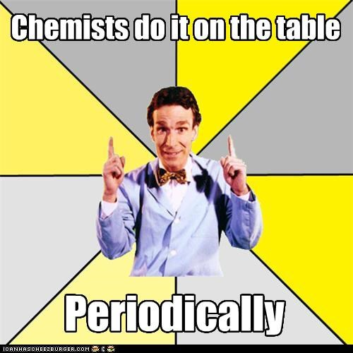 Chemists do it on the table Periodically