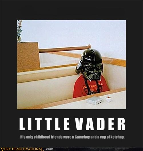 Sad kid ketchup darth vader little