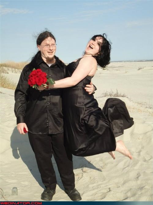 beach wedding,black dress,funny wedding photos,hot feet,jumping,sand