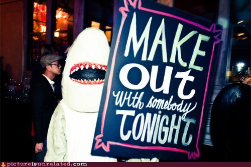 costume,danger,making out,shark,sign,stranger,wtf