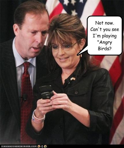 angry birds,cell phones,games,phones,playing,Sarah Palin