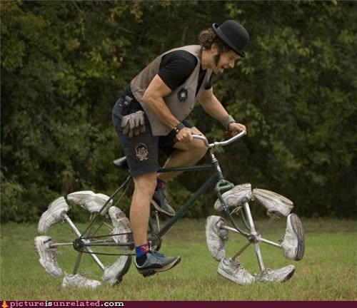 bike,contraption,photobomb,practical,shoes,wtf