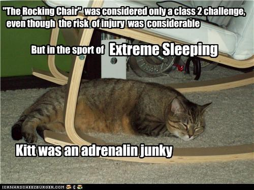 """""""The Rocking Chair"""" was considered only a class 2 challenge, even though the risk of injury was considerable But in the sport of Extreme Sleeping Kitt was an adrenalin junky"""