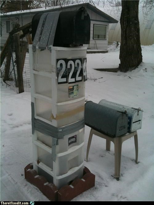 duct tape,holding it up,mailbox,overkill,wtf