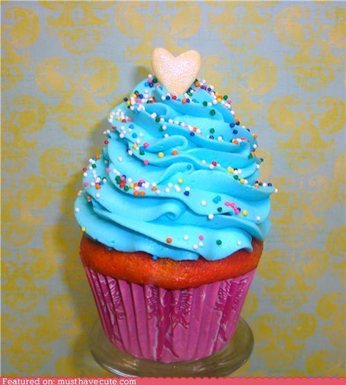blue cupcake frosting heart rainbow sprinkles - 4488076800