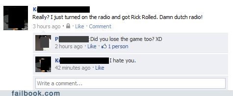 noooo,rickroll,the game,witty reply