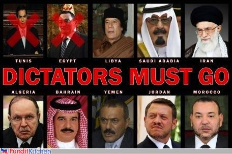 dictators egypt leaders libya middle east protesters protests riots tunisia
