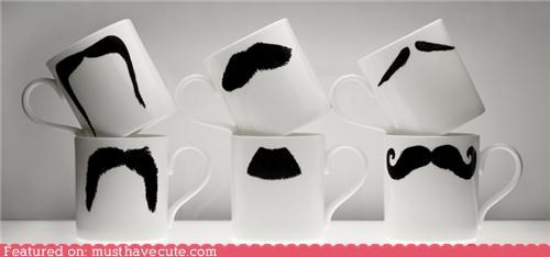 coffee cup graphic mug mustache print - 4488754688