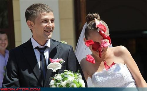flower petal bride,funny wedding photos