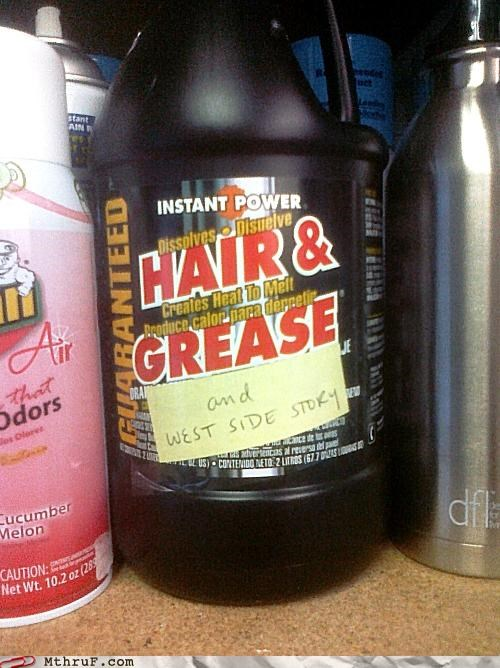 cleaner,grease,hair,musical,west side story