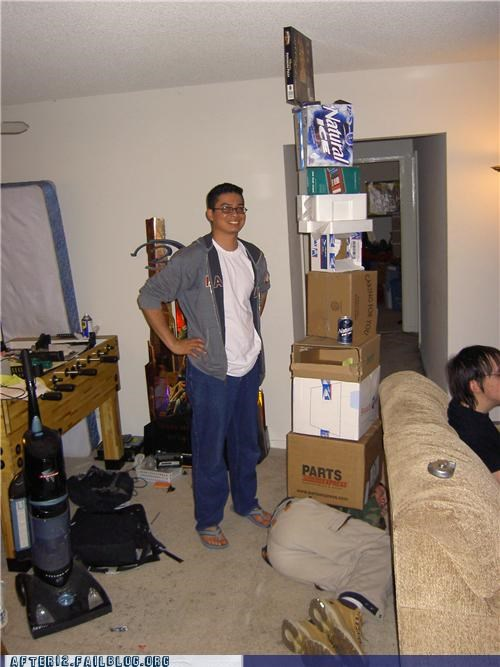 beer,box,cardboard,drunk,passed out,stacking