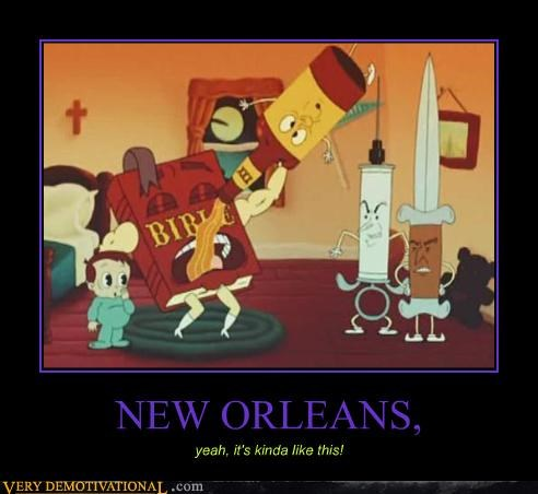 bible,booze,cartoons,knife,needle,new orleans