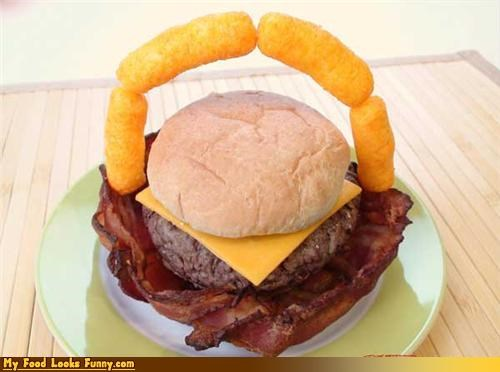 bacon,basket,burger,cheese puffs,cheeseburger,handle