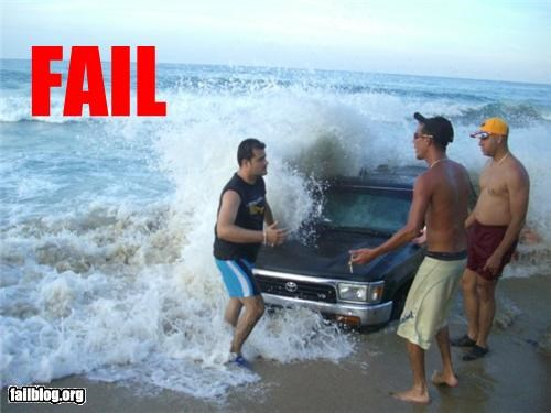 bad idea,beach,driving,failboat,g rated,sand,summer fails,tides,truck,waves