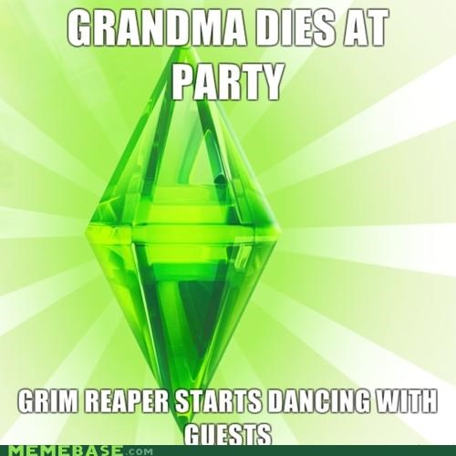 dead,grandma,grim reaper,The Sims,video game