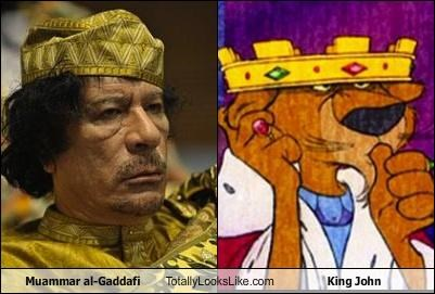 cartoons,dictator,disney,King John,libya,muammar al-gaddafi,robin hood