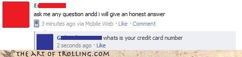 credit card,facebook,honest,questions
