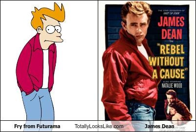 actors,cartoons,fry,futurama,James Dean,rebel without a cause