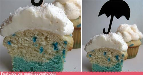 blue,cloud,cupcakes,epicute,rain,umbrella
