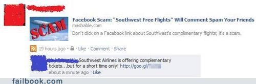 noooo scam southwest airlines spam