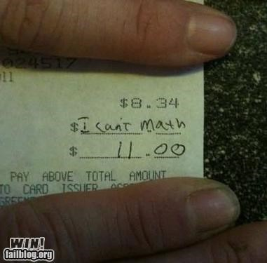 customer service math receipt